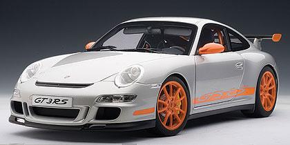 ダイキャスト・モデルカー 1/12 シグネチャーシリーズ ポルシェ911(997)GT3 RS(シルバー/オレンジストライプ)[オートアート]《取り寄せ※暫定》