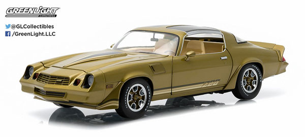 1/18 1981 Chevy Camaro Z/28 - Gold Metallic with Gold Stripes, Black Hood Stripes (T-Tops Included)[グリーンライト]《取り寄せ※暫定》
