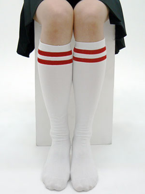 Cospatio Original - Double Line High Socks / WHITE x RED Line L(Back-order)(コスパティオ・オリジナル 2本ライン入りハイソックス 白×赤ライン L)