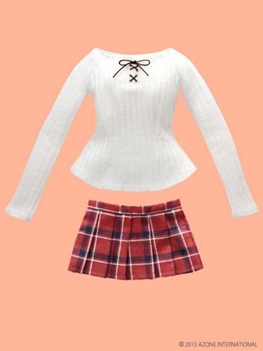 48/50cm Doll Wear - AZO2 Attaka Lace Up Knit & Skirt Set / White x Red (DOLL CLOTHING)(Back-order)(48/50cm用 AZO2あったか編上げニット&スカートset ホワイト×レッド(ドール用衣装))