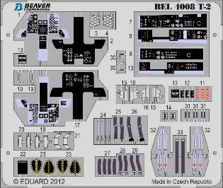 1/48 Mitsubishi T-2 Interior (For Company H) Photo-etched Parts(Released)(1/48 三菱T-2 計器盤、シートベルト接着剤付 (H社用) エッチングパーツ)