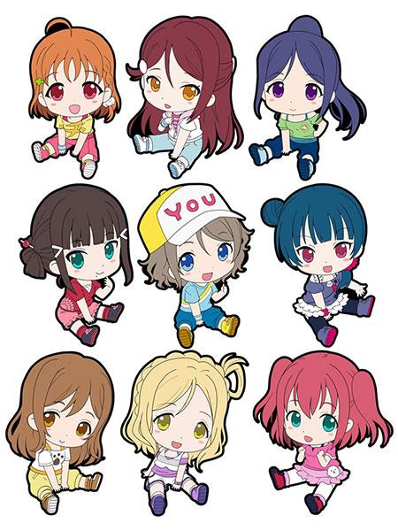 Love Live! Sunshine!! - Petanko Trading Rubber Strap 9Pack BOX(Released)(ラブライブ!サンシャイン!! ぺたん娘トレーディングラバーストラップ 9個入りBOX)