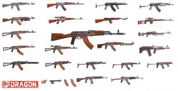 楽天市場 1 35 ソビエト軍ウエポンセット ak 47 74 ライフルファミリー