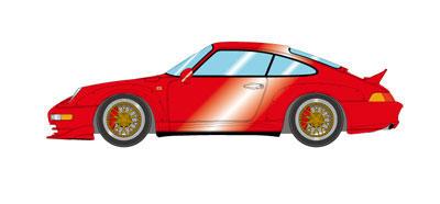 """1/43 ポルシェ 911(993) GT2""""Duck tail Spoiler"""" キャンディレッド[メイクアップ]【送料無料】《取り寄せ※暫定》"""