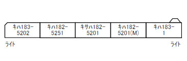 A8257 キハ183系-5200 ノースレインボー・キハ183-1 代走 5両セット[マイクロエース]【送料無料】《08月予約》
