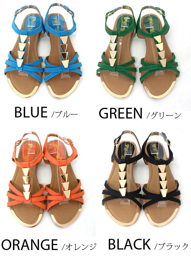 2013 New ★ ゴールドアクセ cool, 1.0 cm flat with flat sandals with / summer / Sandals / black / ladies / pettanko boobs pettanko / fun