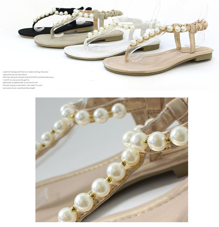 3267cc41f06bfd Pre-order sales ◇ April late arrival will memory foam insoles! With Pearl  flat thong Sandals pettanko   women  s t strap   Chin   Bijou   Uncle    white ...