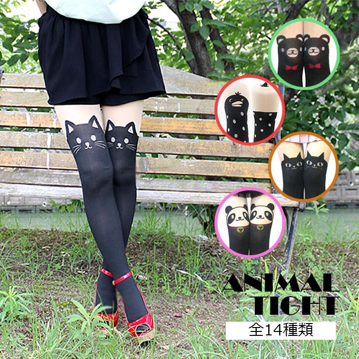 Rakuten No. 1 ranked ★ featured items! 30 D & 60 デニールアニマル pattern faux tights women's / tights / black / animal / cat / tattoo / cat tights