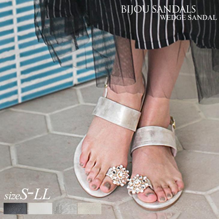 eeb2abb11918b5 amiami345  Ornate Bijou wedge Sandals Women s Bijou walkable stable wedge  summer resort Tong low heel
