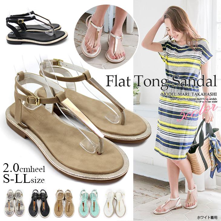 0259a546702dd3 Gold plate with Tongs Sandals pettanko plates flat Sandals T strap strap  elegant resort