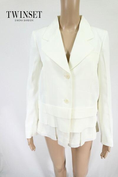 80%OFF 新品 ツインセット TWIN-SET ジャケット 44 EJK148 LLサイズ ホワイト レディース デザインジャケット アセテート アウトレット