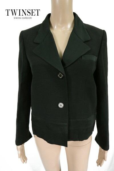 80%OFF 新品 ツインセット TWIN-SET ジャケット 44 EJK157 Lサイズ ブラック レディース リネンジャケット イタリア アウトレット