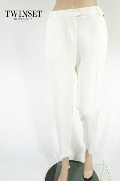 80%OFF 新品 ツインセット TWIN-SET パンツ 40 EPT396 Mサイズ オフホワイト レディース ホワイトパンツ ストレート アウトレット