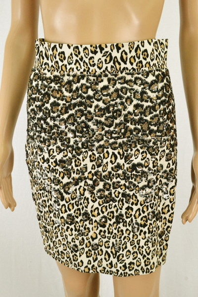 85%OFF 新品 エリザベッタフランキ ELISABETTA FRANCHI スカート 42 ESK130 Mサイズ ホワイト柄 レディース レオパード柄 豹柄 イタリア製