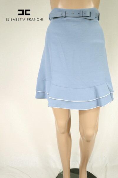 80%OFF 新品 エリザベッタフランキ ELISABETTA FRANCHI スカート 40 ESK259 Sサイズ ブルー レディース 膝上丈スカート イタリア製 アウトレット