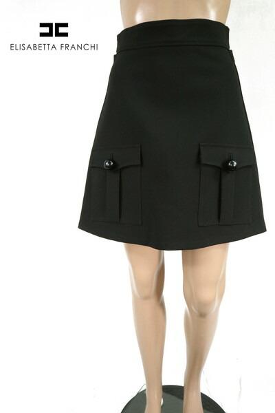 80%OFF 新品 エリザベッタフランキ ELISABETTA FRANCHI スカート 40 ESK262 Mサイズ ブラック レディース 台形スカート イタリア製 アウトレット