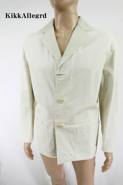85%OFF 訳あり 新品 KIKKALLEGRA レザージャケット 46 HJK25 Mサイズ オフホワイト メンズ カバーオール パンチング イタリア製