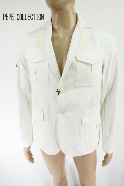 送料無料 75%OFF 新品 PEPE COLLECTION ジャケット M HJK49 Mサイズ ホワイト メンズ 2ボタンジャケット 綿 レザー切替 イタリア製 春夏