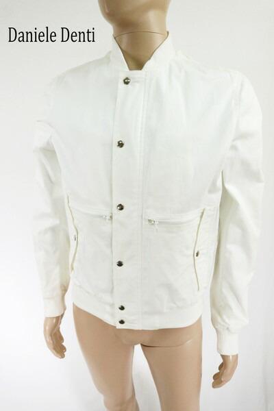 80%OFF 訳あり 新品 Daniele Denti ブルゾン 50 HJK53 LLサイズ ホワイト メンズ ジャケット ジャンパー 綿 ストレッチ イタリア製 春夏