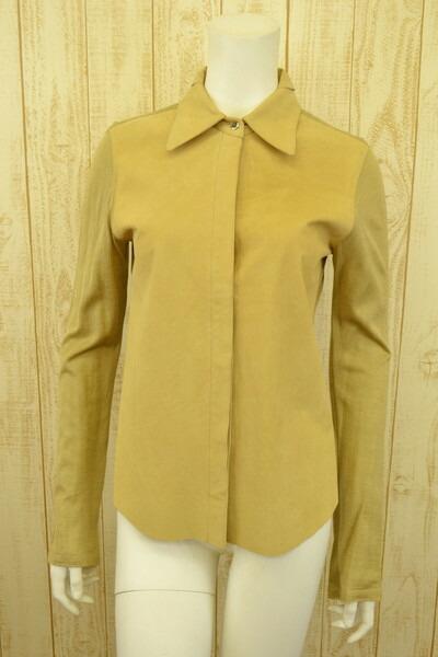 新品 ゼロセッタンタ 070st 伊製レザーニットシャツ40 LSH52 ゼロセッタンタ 070st シャツ 40(M) イタリア製のレザー×ニットのシャツ 激安 ゼロセッタンタのシャツ ゼロセッタンタ 新品