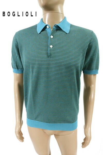 65%OFF 新品 ボリオリ BOGLIOLI ニットポロシャツ S MKN1121 Sサイズ ライトブルー メンズ 綿100% 半袖 ボーダー柄 イタリア製 春夏
