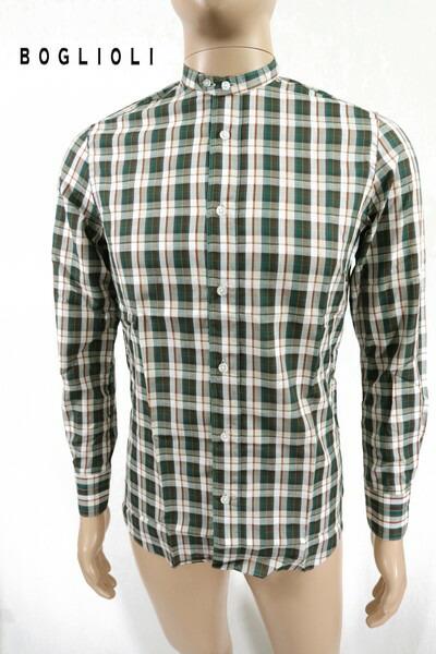 70%OFF 新品 ボリオリ BOGLIOLI スタンドカラーシャツ 38 MSH1673 Mサイズ ホワイト×グリーン×ブラウン メンズ マオカラー イタリア製