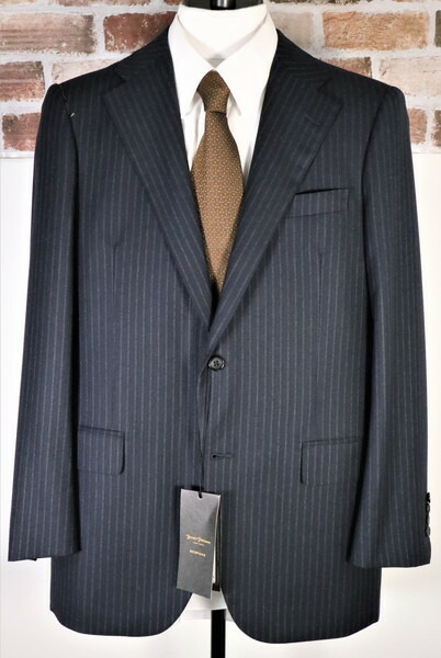 送料無料 65%0FF 新品 ヒッキーフリーマン HICKEY FREEMAN スーツ A7 MSU576 濃紺ネイビー メンズ 2ボタン サイドベンツ ワンタック ストライプ ハンドメイド 日本製 黒タグ 秋冬