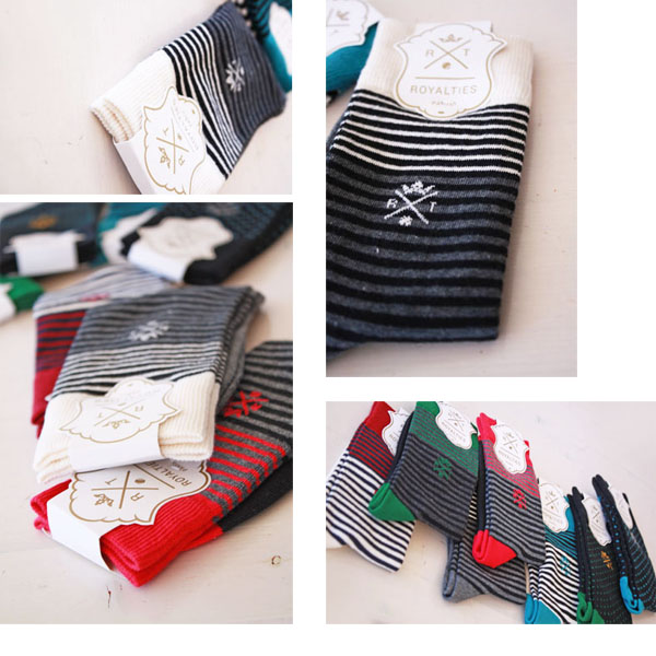 "ROYALTIES ( ロイヤリティーズ ) France-made cotton socks (and leggings short) ""SMART STRIPES"", ""POLKA""-"