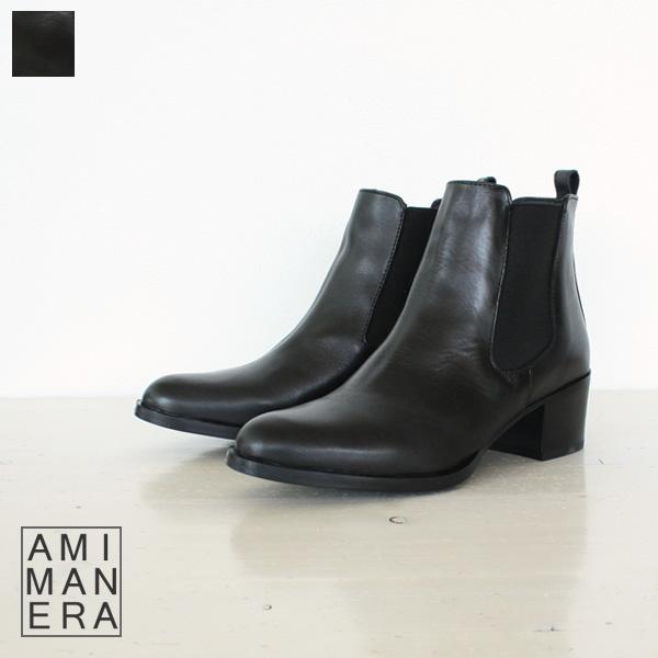 AMIMANERA アミマネラ サイドゴア レザー ショート ブーツ 77020