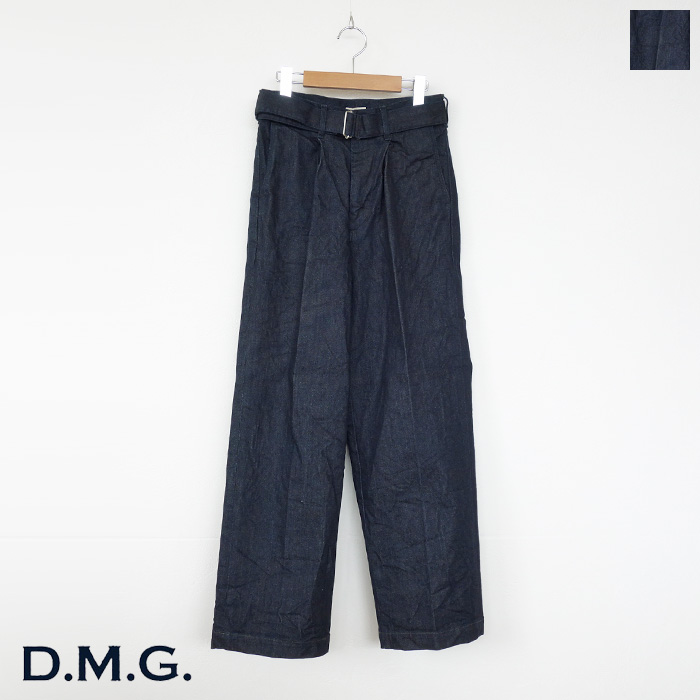 D.M.G (ドミンゴ) ワイド デニム パンツ ストレッチ ベルト付き ストレート 14-0072C