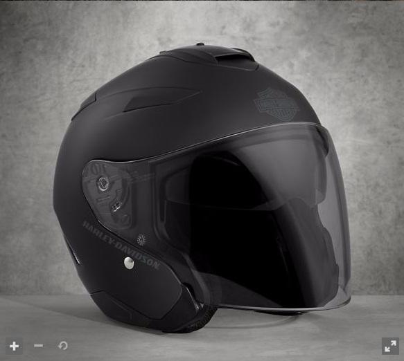 日本未発売!98303-17VXハーレー純正メイウッドサンシールド3/4ヘルメットマットブラック高速はフルシールドで快適、タウンスピードでヘリヘルスタイルが楽しめます‼