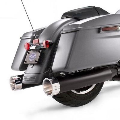 550-0671S&SMk45ブラックボディフィニッシュクロームトレーサーエンドキャップ4.5インチスリップオンマフラーミルウォーキーエイト用