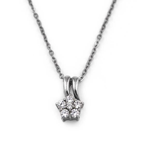チタンネックレス 天然ダイヤモンドのミニフラワー 合計約0.16ct [N0028-WDA&C0050-AD2-40]