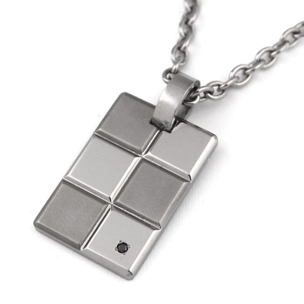 チタンネックレス*Block×Blockブラックダイヤ付き[P0028-BKD&C0040]