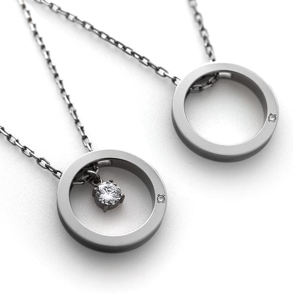チタンペアネックレス CIRCLE PAIR NECKLACE 選べる誕生石&Lady'sは5mmCZ付き [P0130BDS&P0164BDS-C0030]