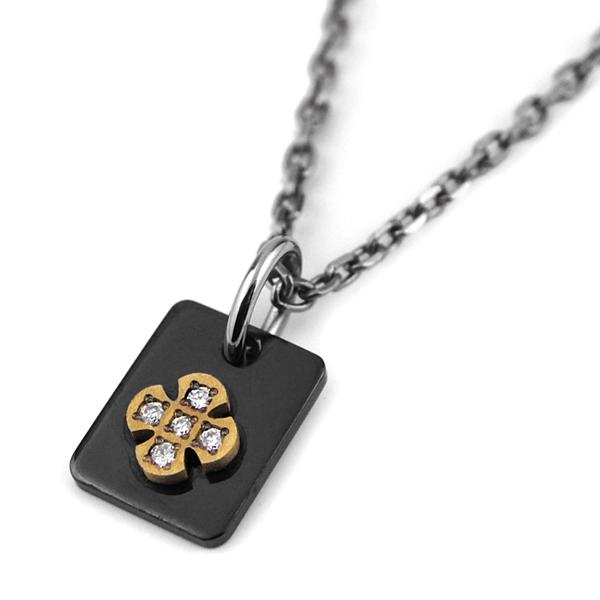 ブラックプレートチタンネックレス クロス&ダイヤ [P0209WDA-BK&C0029]