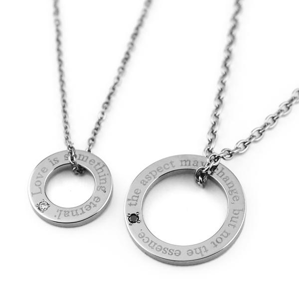 重なるチタンペアネックレス ブラック&ホワイトダイヤモンド [P0226BKD&C0039-50-P0227WDA&C0050-AD2-40]