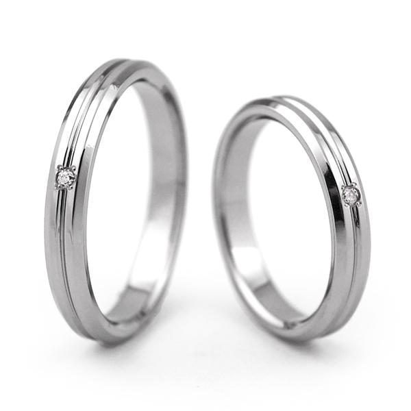 チタンマリッジリング 角落ち鏡面仕上げ 3mm幅 天然ダイヤモンド [R0143-WDA-pair]