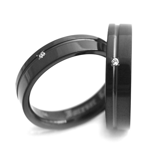 チタンペアリング IPブラック&誕生石 5mm幅1本ライン [R0148BDS-BK-pair]