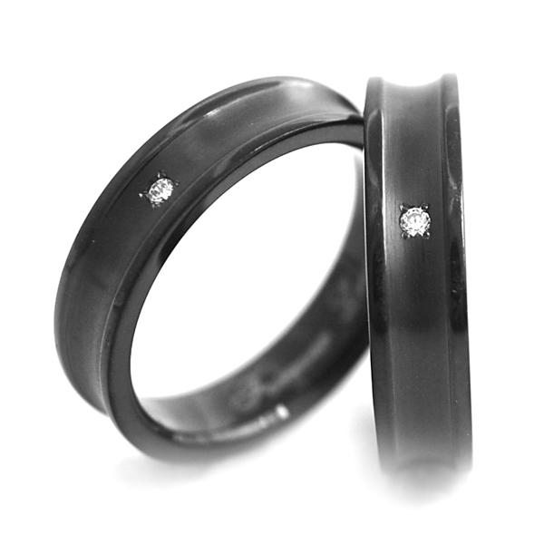 チタンペアリング IPブラック&誕生石 5mm幅逆R [R0149BDS-BK-pair]
