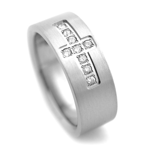 チタンリング&天然ダイヤ[R0032]