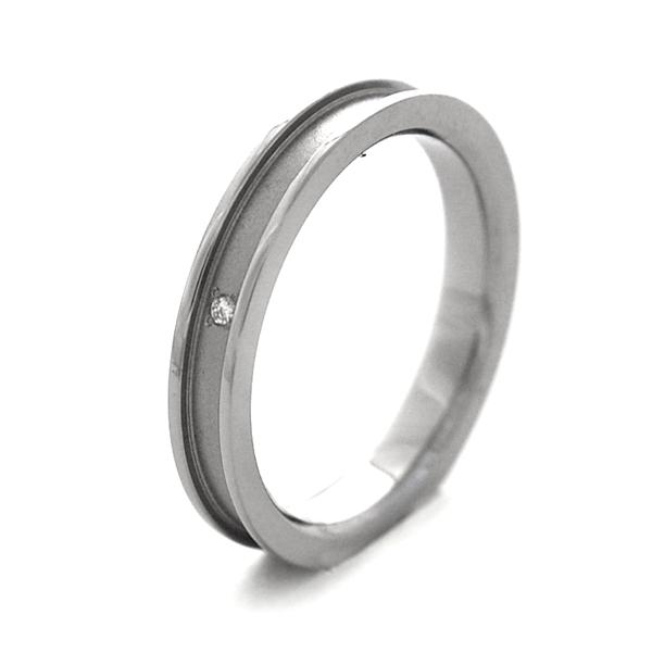 天然ダイヤ入りチタンリング マット 限定モデル 鏡面仕上げ3.2mm幅 トラスト R0156-WDAXX