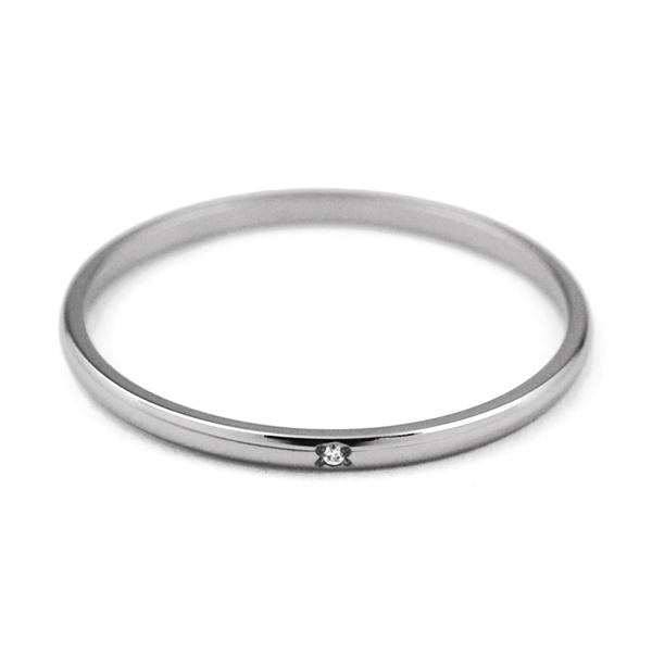 天然ダイヤ付き 1.5mm幅 シンプルチタンリング ナチュラル [R0222WDA-XX]