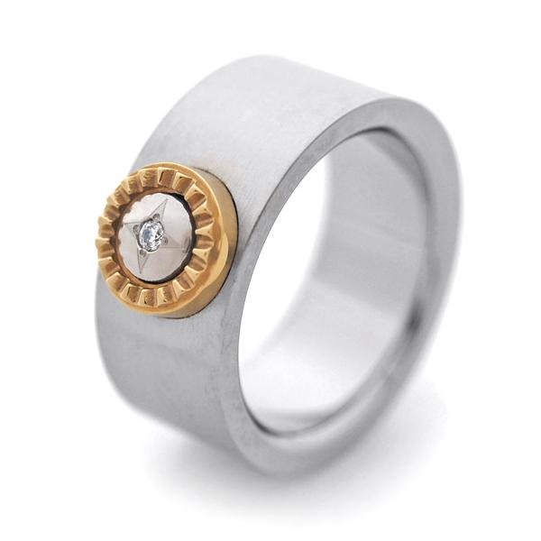 チタンリング MODERN 選べる誕生石付きIPゴールドパーツ 8.5mm幅 [R0253BDS-GO]