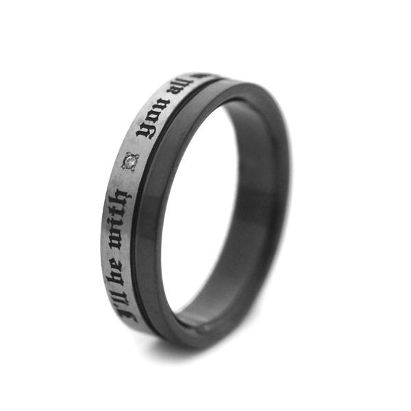 天然ダイヤ付きIPブラック&ヘアラインチタンリング [R0267-WDABK]