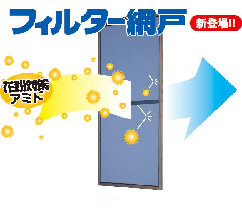 フィルター網戸-花粉対策用網戸-W852-970H1802-1900