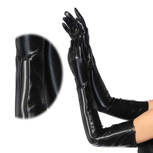 Fetish leather opera gloves you