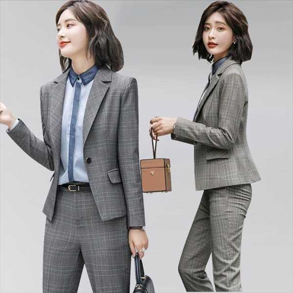 お取寄せ可 送料無料 格安店 人気 《レディース》《スーツ》 上下セット ビジネス オフィス チエック柄 レディースファッション スーツ 《2Set 》通勤 通学 面接 S~6L 大きいサイズ新品 上品感 AMITY グレー イエロー