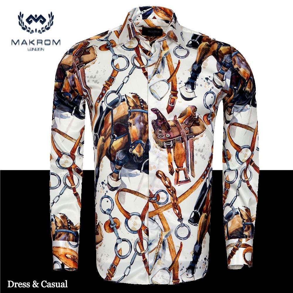 【送料無料】MAKROM ドレス&カジュアルシャツ / ホースライディング6776(Premium Design) 乗馬が大きく描かれたプレミアム柄 プレゼントにも最高です! パーティーや、ブライダルにもお洒落です クリスマス