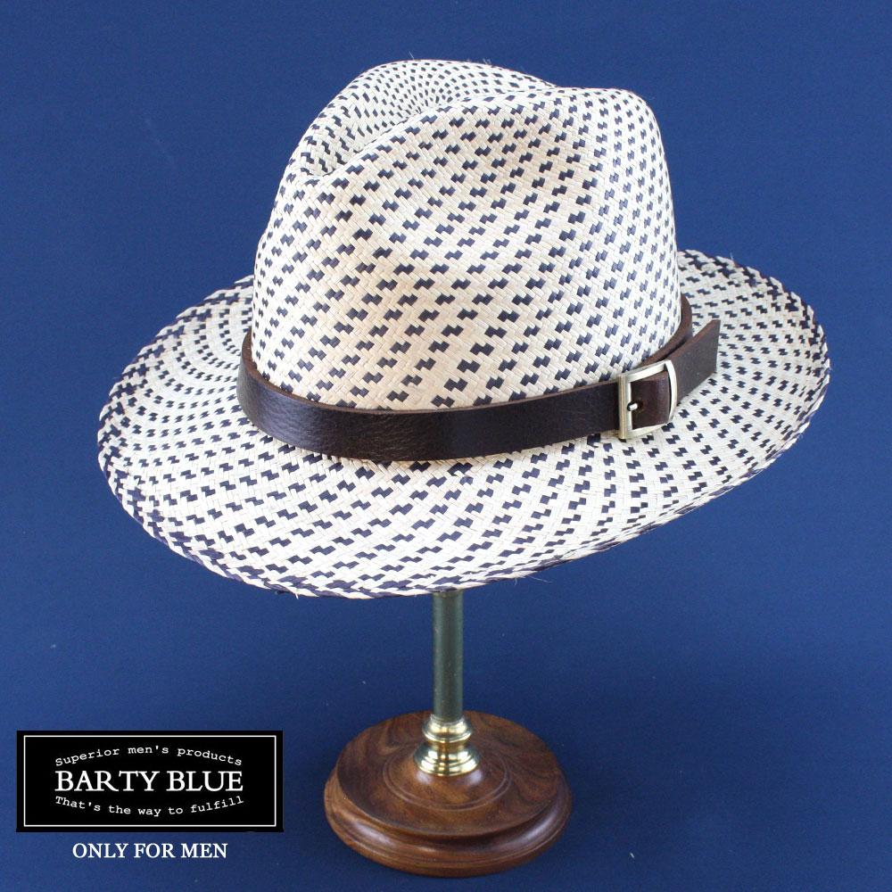 【送料無料】Barty Blue / バーティー・ムーン(革色:ダークブラウン) 革バンドで更にお洒落アップ 他には無い革バンド付パナマハット 名入れ可能 プレゼントに最適 1cm毎にサイズ選びできます パナマ帽 エクアドル